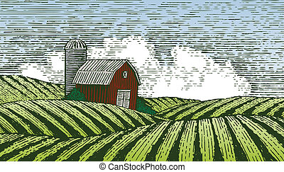 Woodcut style illustration of a barn in a rural farm scene.
