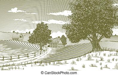 Woodcut Rural Scene