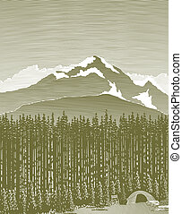 woodcut, selva, montanha, acampamento