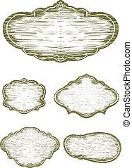 woodcut, sinal, blanks