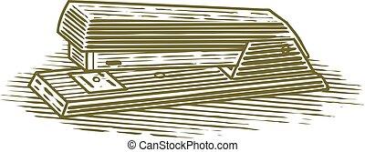 Woodcut Stapler - Woodcut illustration of an stapler.