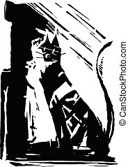 Expressionistic Black Cat - woodcut style Expressionistic ...
