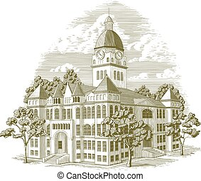 Woodcut-style illustration of the Jasper County Courthouse in Carthage, Missouri.