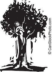 Dryad - Woodcut style image of the Dryad tree spirit from...
