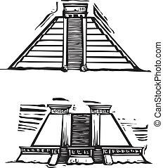 Mayan Pyramids - Woodcut style image of the Mayan Pyramids...