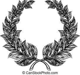 Woodcut style Laurel Wreath