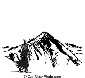 Wizard Snow on covered Mountain - Woodcut style Wizard Snow ...