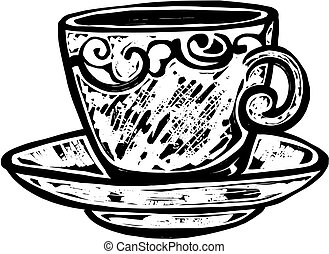 Woodcut Teacup - A black and white woodcut style drawing of...