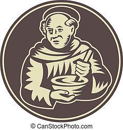 woodcut, tigela, monge, cozinheiro, misturando, friar