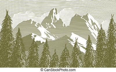 woodcut, træ, og, mountainscape