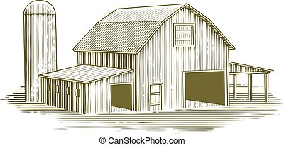 Woodcut Traditional Barn