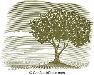 Woodcut Tree Landscape Vignette