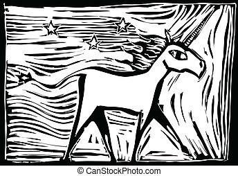 woodcut, unicorno
