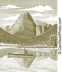 woodcut, uomo, e, canoa