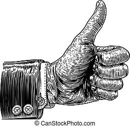 woodcut, vendemmia, su, segno, retro, mano, pollici