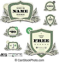 woodcut, vetorial, decoração, bordas, dinheiro, folha