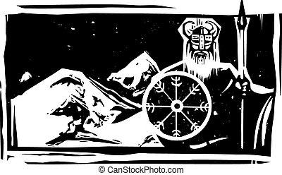 Woodcut Viking and Mountain
