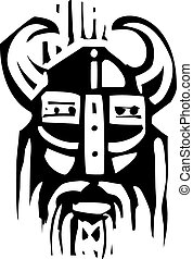 Woodcut Viking Face - Woodcut expressionist image o a face...