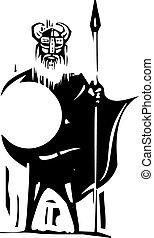 Woodcut Viking