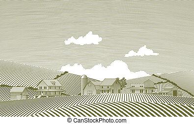 woodcut, village