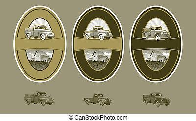 woodcut, vindima, caminhão, etiquetas