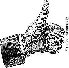 woodcut, vindima, cima, sinal, retro, mão, polegares