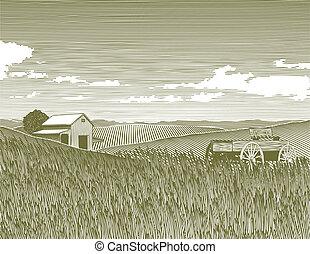 Woodcut Vintage Farm - Woodcut style illustration of a farm.