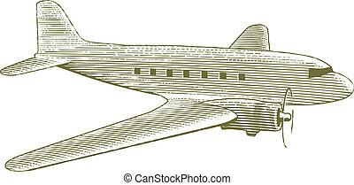 Woodcut Vintage Plane