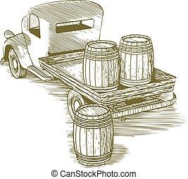 Woodcut Vintage Truck
