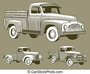 Woodcut Vintage Trucks - Three woodcut style illustrations...