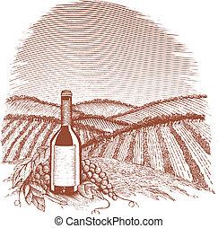 Woodcut Vinyard - Woodcut style illustration of a wine...