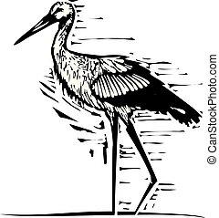 Woodcut wading Stork - Woodcut style expressionist image of...