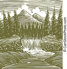 Woodcut Waterfall Wilderness - Woodcut style illustration of...