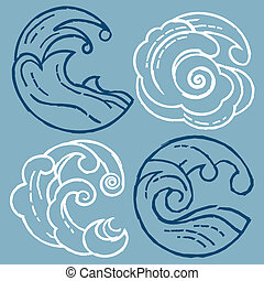 Woodcut Waves - Wave design icons in a woodcut style