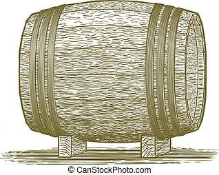 Woodcut Whiskey Barrel - Woodcut-style illustration of a...
