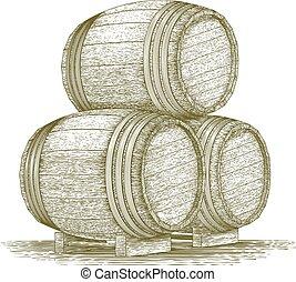 Woodcut Whiskey Barrel Stack - Woodcut-style illustration of...