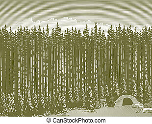 Woodcut Wilderness Camp - Woodcut style illustration of a...