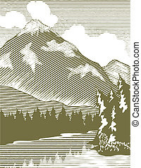 Woodcut Wilderness Lake