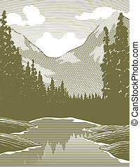 Woodcut style illustration of a river scene.