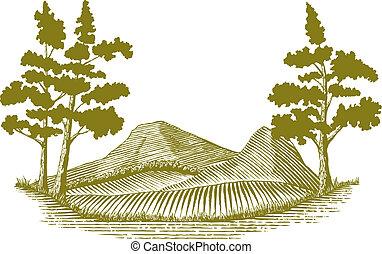 Woodcut style illustration of a mountain scene.