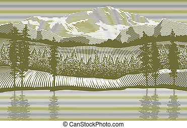 Woodcut-style illustration of a mountain wilderness scene.