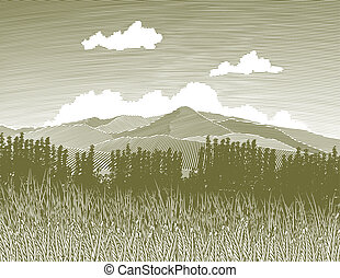 Woodcut style illustration of a wilderness scene.