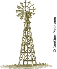 Woodcut Windmill - Woodcut-style illustration of an old farm...