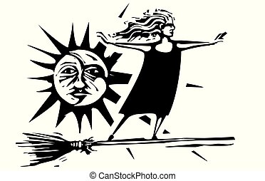 Woodcut witch with sun and moon - Woodcut style ...