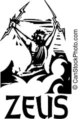 Woodcut Zeus with text - Woodcut style image of the Greek...