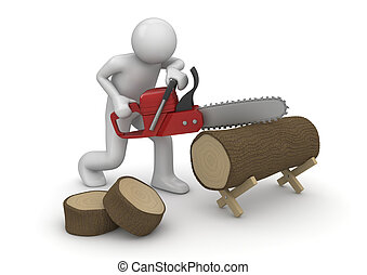 Woodcutter at work - 3d isolated on white background...