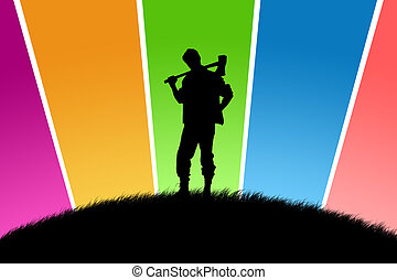 Black silhouette of the woodcutter on a glade with multi-coloured beams