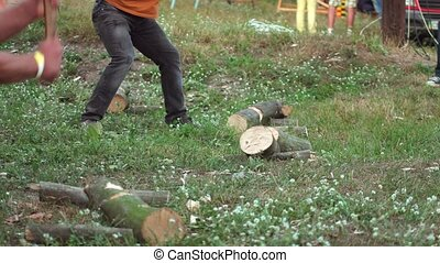 woodcutter chopping wood ax after dusts 4k - woodcutter...