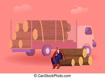 Woodcutter Having Break Sitting on Wooden Logs Pile in Forest near Truck for Trees Transportation. Wood Harvesting, Logging Forestry Industry, Deforestation Process. Cartoon Flat Vector Illustration
