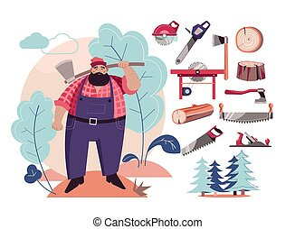 Woodcutter or lumberjack cutting tools and wood - Cutting...